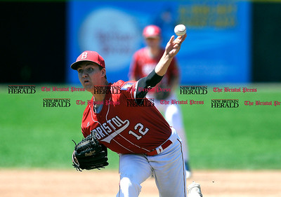 8/4/2016 Mike Orazzi | Staff Bristol American Legion's Bradley Burney (12) during a win over Vermont in the American Legion Eastern Regional Baseball Tournament at Muzzy Field Thursday afternoon.