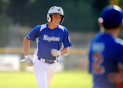 8/9/2016 Mike Orazzi | Staff Pennsylvania's Cayde McCloskey (6) rounds the bases after his home run during the Eastern Regional Little League Tournament at Breen Field in Bristol Tuesday.