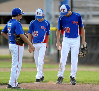 8/9/2016 Mike Orazzi | Staff New Jersey's Anthony Sirico (2), Colin Reilly (15) and Brandon Levy (18) during the Eastern Regional Little League Tournament at Breen Field in Bristol Tuesday.