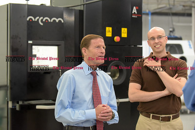 081516  Wesley Bunnell | Staff  Senator Richard Blumenthal paid a visit to Addaero Manufacturing in New Britain on Monday afternoon.  To the right is Addaero's Vice President David Hill.