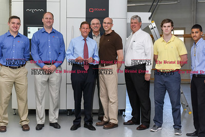 081516  Wesley Bunnell | Staff  Senator Richard Blumenthal stands with Addaero Manufacturing employees on a visit to their shop in New Britain on Monday afternoon.