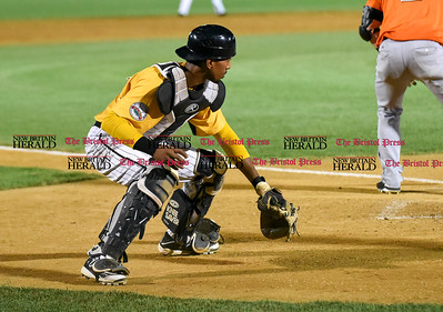 081516  Wesley Bunnell | Staff  New Britain catcher #3 James Skelton tracks down a passed ball and checks the runners on base. New Britain Bees played host to the visiting Long Island Ducks on Monday Aug 15.
