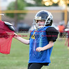 081716  Wesley Bunnell    Staff<br /> <br /> Justin Booker of the New Britain Police Athletic League Tiny Mites Raiders football team grabs hold of a team mates jersey during practice. PAL, held cheerleading & football practice on Wednesday evening at Al Beatty Memorial Field.