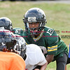 081716  Wesley Bunnell    Staff<br /> <br /> Cayden Hill of the Junior Pee Wee D team takes the snap during practice with the New Britain Police Athletic League's Raiders. PAL, held cheerleading & football practice on Wednesday evening at Al Beatty Memorial Field.