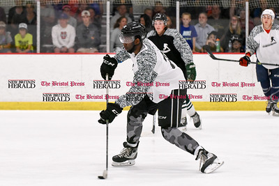 081916  Wesley Bunnell  | Staff  Jordan Samuels-Thomas of the Ontario Reign with a shot attempt during Pete Asadourian's 12th annual Pro Hockey Camp Scrimmage which took place on Thursday evening at Newington Arena.