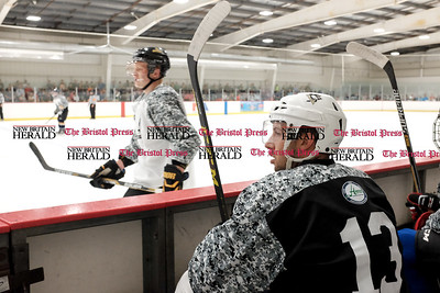081916  Wesley Bunnell  | Staff  Nick Bonino of the Pittsburgh Penguins on the bench during Pete Asadourian's 12th annual Pro Hockey Camp Scrimmage which took place on Thursday evening at Newington Arena.