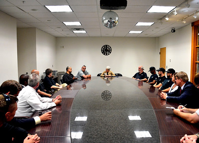 8/23/2016 Mike Orazzi | Staff Connecticut Lieutenant Governor Nancy Wyman while meeting with veterans from Yarde Metals in Southington Tuesday.