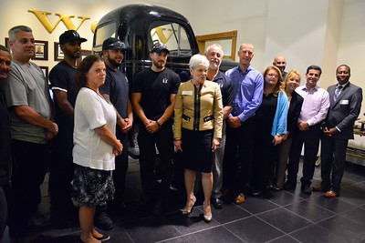 8/23/2016 Mike Orazzi | Staff Connecticut lieutenant governor Nancy Wyman (center)  while meeting with veterans from Yarde Metals in Southington Tuesday.