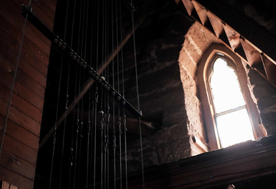 082316  Wesley Bunnell | Staff  Cables leading from the lower ringing room in the South Congregational Church up to the bell tower are lit by window light on Tuesday afternoon.
