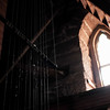 082316  Wesley Bunnell | Staff<br /> <br /> Cables leading from the lower ringing room in the South Congregational Church up to the bell tower are lit by window light on Tuesday afternoon.