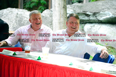 8/26/2016 Mike Orazzi | Staff Bristol Mayor Ken Cockayne and Republican US Senate candidate Dan Carter during the 135th Crocodile Club Reunion Dinner held at Lake Compounce Friday afternoon.