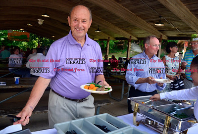 8/26/2016 Mike Orazzi | Staff Bristol City Councilman Dave Mills and State Senator Henri Martin during the 135th Crocodile Club Reunion Dinner held at Lake Compounce Friday afternoon.