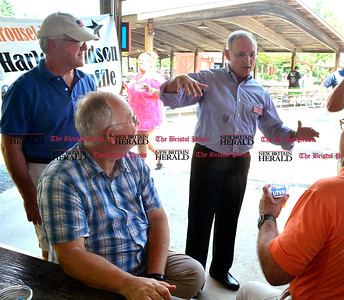 8/26/2016 Mike Orazzi | Staff State Senator Henri Martin (center) during the 135th Crocodile Club Reunion Dinner held at Lake Compounce Friday afternoon.