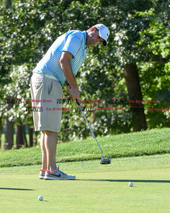082916  Wesley Bunnell | Staff  Marc Bayram of Timberlin Golf Course in Berlin putts on the 8th green at Shuttle Meadow Country Club on Monday afternoon. Local golf pro's from Stanley Golf Course in New Britain, Timberlin Golf Course & Shuttle Meadow Country Club in Berlin get together annually to golf and raise money for CT PGA Golf Foundation. The foundation supports a variety of activities but focuses primarily on junior golf. The event is in its 7th year and raises approximately twenty five thousand dollars annually.