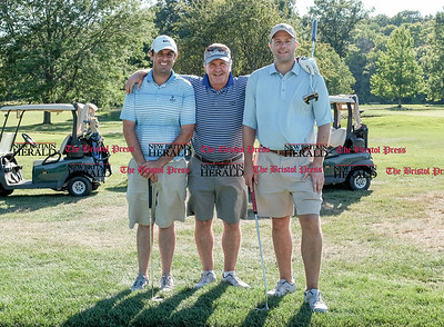 082916  Wesley Bunnell | Staff  From left Marc Bayram from Timberlin Golf Course in Berlin, Tim Gavronski of Shuttle Meadow Country Club in Berlin & Kyle Hedstrom of Stanley Golf Course in New Britain. The local golf pro's get together annually to golf and raise money of the CT PGA Golf Foundation. The foundation supports a variety of activities but focuses primarily on Junior Golf. The event is in its 7th year and raises approximately twenty five thousand dollars annually.