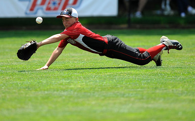 8/11/2016 Mike Orazzi | Staff New Hampshire's Evan Kaplo (8) in left field during the Eastern Regional Little League Tournament on Thursday.