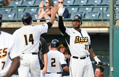 081616  Wesley Bunnell  | Staff  Jovan Rosa #35, right, high gives Michael Crouse #14 after coming home to score a run. The New Britain Bees took on the Long Island Ducks in the 2nd game of the series on Tuesday evening.