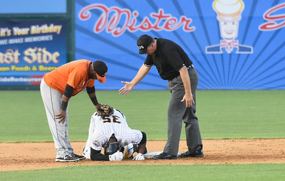 081616  Wesley Bunnell  | Staff  Jovan Rosa #35 is on the ground after getting hit with the throw sliding into 2nd base. The New Britain Bees took on the Long Island Ducks in the 2nd game of the series on Tuesday evening.
