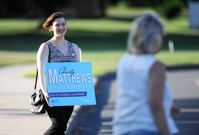 8/9/2016 Mike Orazzi | Staff Candidate Christy Matthews while greeting voters at the Edgewood School in Bristol Tuesday evening.