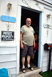 8/17/2016 Mike Orazzi | Staff Vietnam veteran Robert Gentle in the doorway of his Cyprus Street home in Bristol. A volunteer group is doing some renovations for him and his wife Doreen.