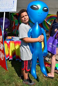8/20/2016 Mike Orazzi | Staff Anthony Jackson with a giant blue alien he won during the Rockwell Park festival on Saturday in Bristol.