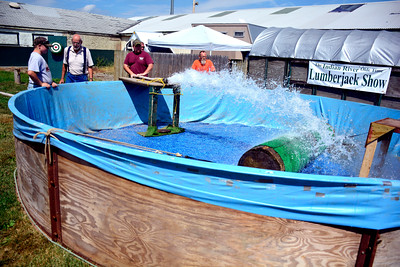 8/25/2016 Mike Orazzi | Staff Members of the Terryville Volunteer Fire Department fill up pool at the Lumberjack Show area at the Terryville Fair Thursday. The fair kicks off Friday at 5 pm and runs through Sunday.