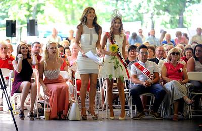 8/27/2016 Mike Orazzi   Staff Jessica Rafalowski Viggiano and Miss Polonia USA 2016 Aneta Chorzepa  during the 36th Annual Dozynki Festival at Falcon Field in New Britain on Saturday.