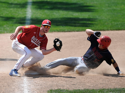 8/5/2016 Mike Orazzi | Staff Bristol American Legion's Ben Mazzone as  New Hampshire's Justin Jewell (17) slides into third during the Northeast Regional American Legion Baseball Tournament in Bristol Friday.