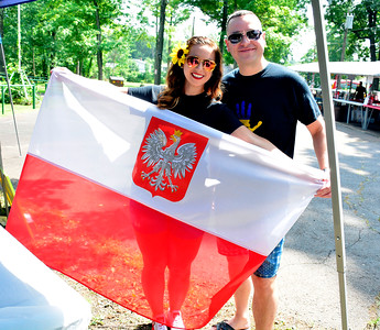 "8/6/2016 Mike Orazzi | Staff Megi Dzidzitsky and Yora Burkovskiy during the ""POL-UKI"" Polish/Ukrainian Festival held at Falcon Field in New Britain Saturday."