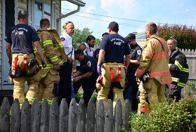 8/6/2016 Mike Orazzi | Staff New Britain emergency personnel on scene of a motor vehicle crash on Farmington Avenue near the intersection with Ruth Road Saturday afternoon.