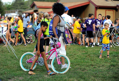 8/6/2016 Mike Orazzi   Staff Deva Caviness and her daughter Devan during the Race4Chase Finale event at YMCA Camp Sloper on Saturday morning.