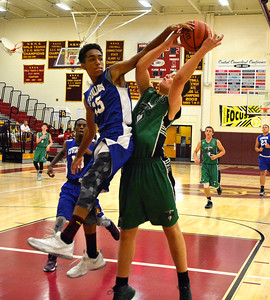 8/6/2016 Mike Orazzi   Staff CT TItans' Jack Rose (55) and the Stallions' Sergo Muniz (16) at NBHS Saturday.