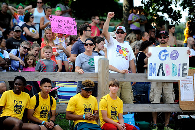 8/6/2016 Mike Orazzi   Staff Spectators cheer during the swim portion during the Race4Chase Finale event at YMCA Camp Sloper on Saturday morning.