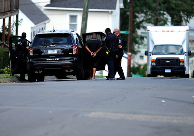 8/12/2016 Mike Orazzi | Staff Bristol Police while on Gridley Street Friday afternoon.