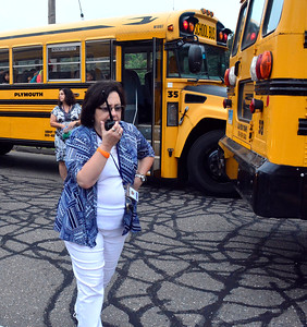 8/31/2016 Mike Orazzi | Staff Fisher Middle School Principal Phyllis Worhunsky directs students first day of school Wednesday morning in Plymouth.