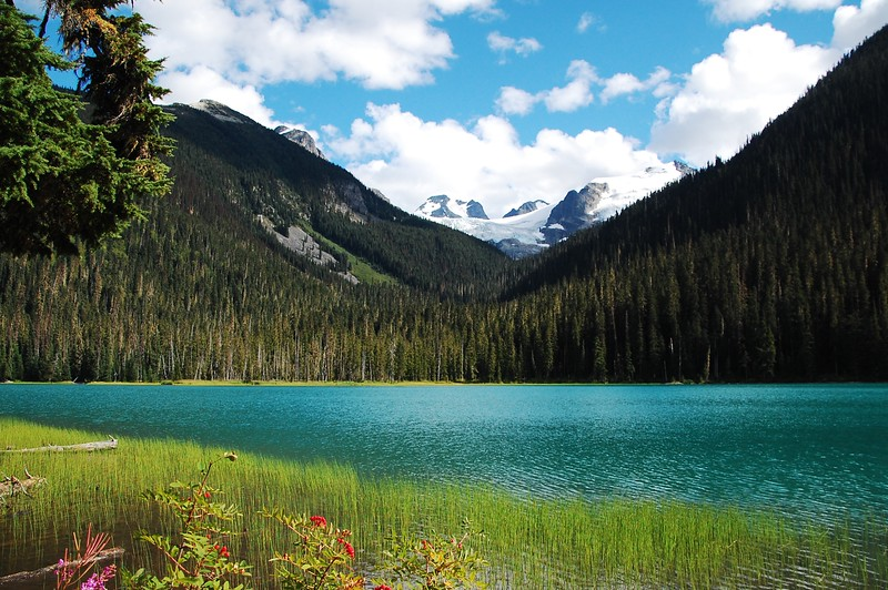 Day 2, Birch Bay Washington to Jesmond British Columbia, 317 miles<br /> <br /> Glacier above an alpine lake, Joffrey Lakes Park.