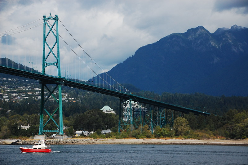 Day 2, Birch Bay Washington to Jesmond British Columbia, 317 miles<br /> <br /> Lions Gate Bridge, Vancouver