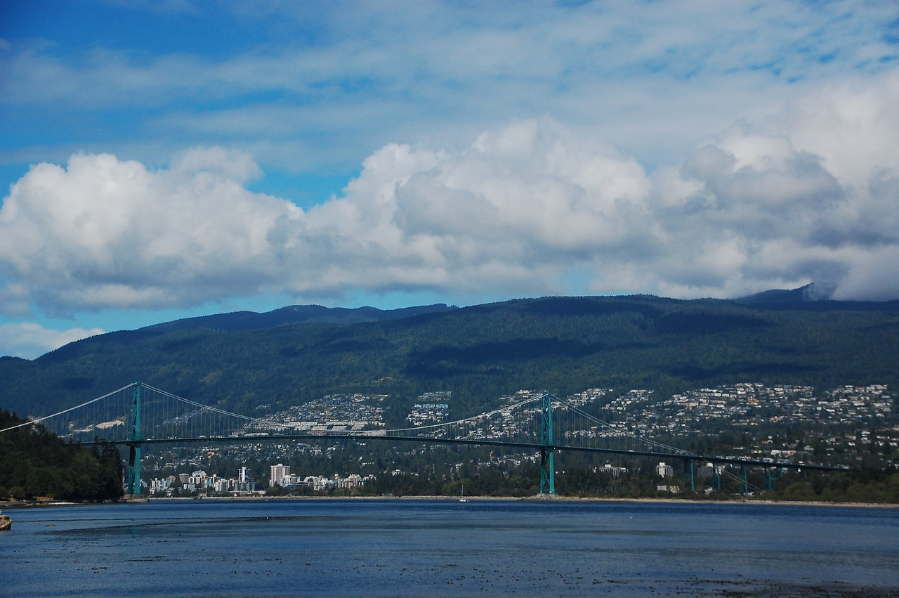 Day 2, Birch Bay Washington to Jesmond British Columbia, 317 miles<br /> <br /> Lions Gate Bridge over English Bay, Vancouver