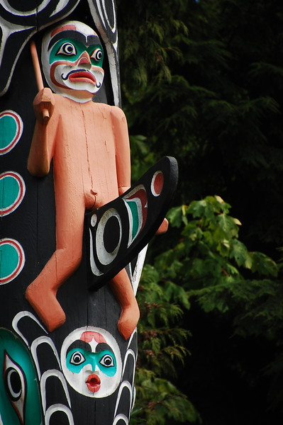 Day 2, Birch Bay Washington to Jesmond British Columbia, 317 miles<br /> <br /> There's this totem pole collection in Stanley Park... and one of them has this guy.  Yeah.