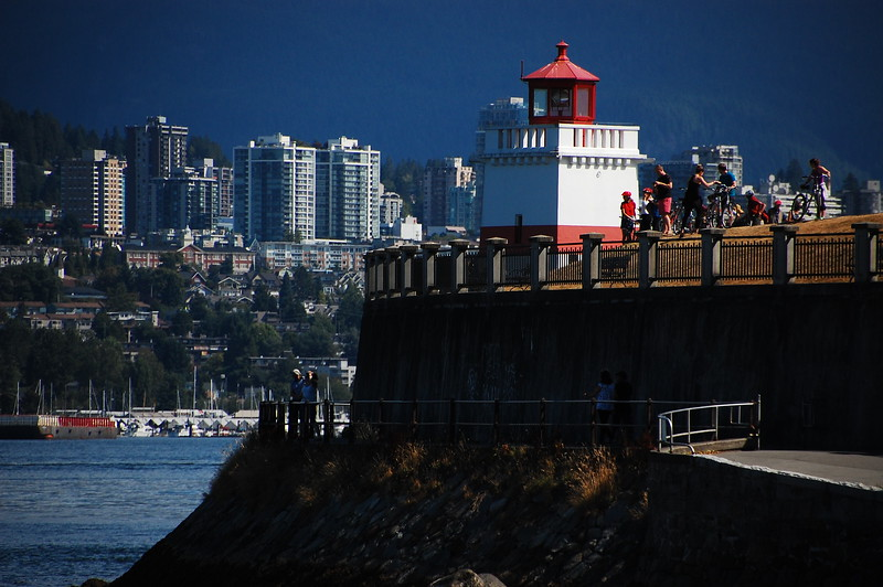 Day 2, Birch Bay Washington to Jesmond British Columbia, 317 miles<br /> <br /> Lighthouse in Stanley Park with West Vancouver in the background.