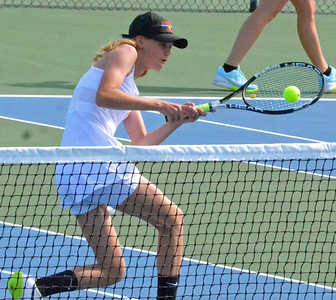 KYLE MENNIG – ONEIDA DAILY DISPATCH Oneida's Sydney Lusher plays the ball at the net during a match against Horseheads in Utica on Monday, Aug. 28. 2017.