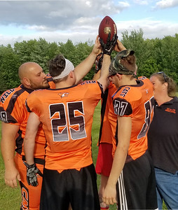 KYLE MENNIG – ONEIDA DAILY DISPATCH CNY Wildcats players prepare for practice in Chittenango on Saturday Aug. 5, 2017.