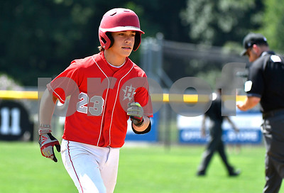 8/9/2017 Mike Orazzi | Staff New Jersey's Chris Cartmick (23) after his home run during the Eastern Regional Little League Tournament in Bristol Wednesday afternoon.