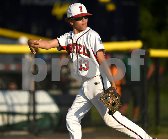 8/9/2017 Mike Orazzi | Staff Fairfield American's Ethan Righter (13) during a win over New Hampshire in the Eastern Regional Little League Tournament at Breen Field in Bristol Wednesday.