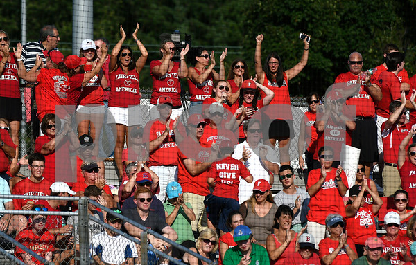 8/9/2017 Mike Orazzi | Staff Fairfield American fans celebrate during a win over New Hampshire in the Eastern Regional Little League Tournament at Breen Field in Bristol Wednesday.