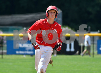 8/9/2017 Mike Orazzi   Staff New Jersey's JR Osmond (9) after his home run during the Eastern Regional Little League Tournament in Bristol Wednesday afternoon.