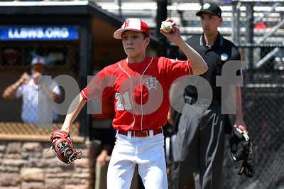 8/9/2017 Mike Orazzi   Staff New Jersey's Tai Mann (21) checks a runner during the Eastern Regional Little League Tournament in Bristol Wednesday afternoon.