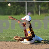 080317  Wesley Bunnell | Staff<br /> <br /> The New Britain All Stars vs West Hartford in a 12U Nutmeg State Games baseball game played at Martha Hart Park on Thursday evening. Second baseman Emani Gonzalez (22) throws from the ground for the force out at second base.