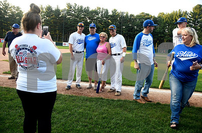8/3/2017 Mike Orazzi | Staff Host families being honored before the start of the Bristol Blues game at Muzzy Field Thursday evening.
