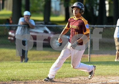 080317  Wesley Bunnell | Staff  The New Britain All Stars vs West Hartford in a 12U Nutmeg State Games baseball game played at Martha Hart Park on Thursday evening.  William Estroza (11) thinks of heading home before stopping at third base.